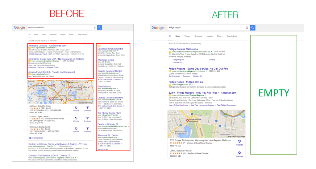 Google ads before and after